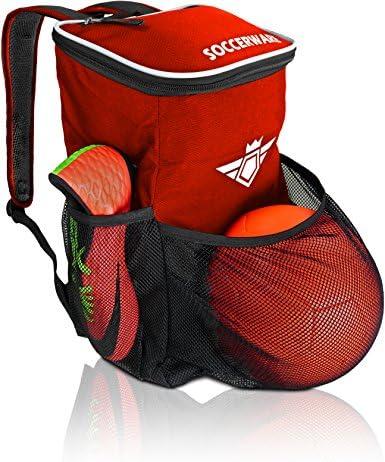 サッカーバックパック ボールホルダーコンパートメント付き – 男の子&女の子用 | すべてのサッカー用品&ジムギアにフィット (ブラック)
