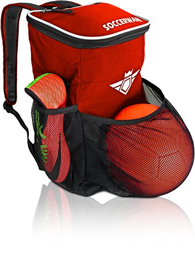 Soccer Backpack with Ball Holder Compartment - for Boys & Girls | Bag Fits All Soccer Equipment & Gym Gear (Black) (Red)