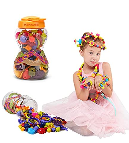 Kemuse Kids Pop beads Set- Creative DIY Jewelry Kit for Girls Necklace and Bracelet Art Crafts Gifts Toys - 85 - Bead Craft Ideas