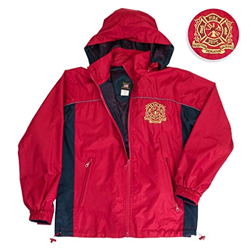 Erazor Bits Firefighter Jacket Hooded Light Weight Rain Resistant Windbreaker Jacket Reflective Safety Piping and Removable Hood Mesh Nylon Liner Embroidered Logo Draw Sting Waist XX-Large Red-Navy by Erazor Bits