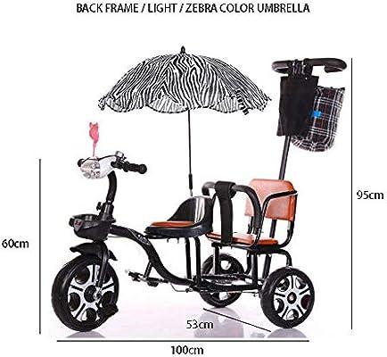 JHGK Triciclo Biplaza, Bicicleta Triciclo De Empuje A Dos Manos De Acero con Alto Contenido De Carbono Biplaza con Marco/Paraguas Trasero, Triciclo Ligero para Niños Tricycle,Negro: Amazon.es: Hogar
