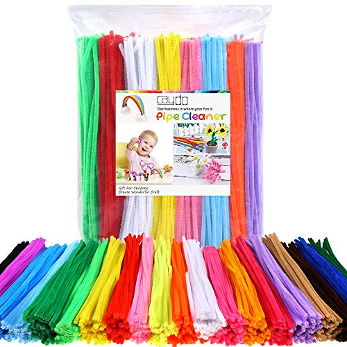 Caydo 1000 Pieces 20 Colors Pipe Cleaners Chenille Stems for DIY, Art Creative Christmas Crafts Decorations (6 mm x 12 inch)
