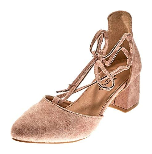 Shoes Emma - Womens Pumps Heeled Lace-up, Ankle Tie Sandals (6, Blush)