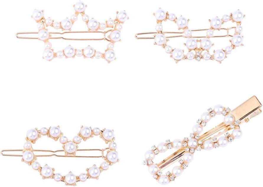 Lurrose 4 unids Horquillas de Perlas Perla Conjunto de Pinzas de Pelo Perla Horquilla Amor corazón Corona geométrica Pin de Pelo Adorno de Pelo para Mujeres niñas Damas