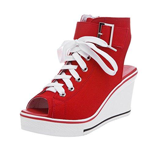 Sneaker Pump Fashion Heeled Red 4 Shoes Platform Women's OCHENTA Wedge High Canvas xtfYwq80