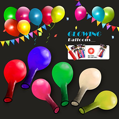 LED Flashing Light Balloons Set Mixed Color Great for All Parties (Pack of 18) - LED (Lighted Ballons)