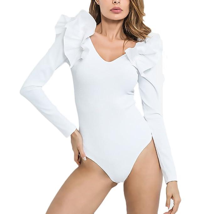 aec64760fd Body Mujer Fiesta para Vestir Bodies Elegantes Manga Larga V Cuello Volantes  Slim Fit Ajustado Ropa Bodys Vintage Moda Bodysuit Blusas Tops  Amazon.es   Ropa ...
