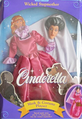 Disney CINDERELLA WICKED STEPMOTHER MASK & COSTUME PLAYSET Fashions Fit 11.5 FASHION Size DOLL (1991) by Disney