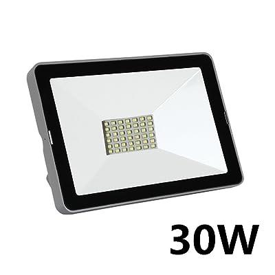 1 x 30W Projecteur LED IP66 Tension 220V Extérieur Blanc Froid Spotlight Projecteur Applique Murale pour Jardin et Pelouse Forecourt