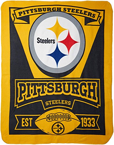"The Northwest Company 1NFL/03102/0078/AMZ NFL Pittsburgh Steelers Marque Printed Fleece Throw, 50"" x 60"", Pittsburgh Steelers, 50 x 60"