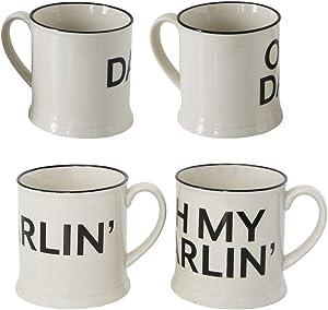 Darlin Black and White 14 ounce Glossy Ceramic Stoneware Mugs Set of 2