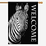 InterestPrint Zebra Black and White Animal House Flags House Banner Decorative Flags for Home Outdoor Valentine,Welcome Holiday Yard Flags 28