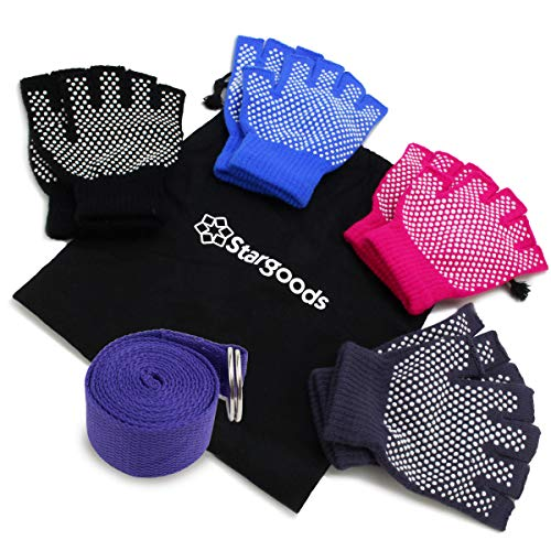 Yoga Gloves Non Slip Fitness Grip, Fingerless Pilates Glove for Training Workout, 4 Pairs and 1 Yoga Strap