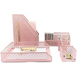 Blu Monaco Pink Desk Organizer for Women - 5 Piece Desk Accessories Set - Letter - Mail Organizer, Sticky Note Holder, Pen Cup, Magazine File Holder, Paper - Document Tray - Pink