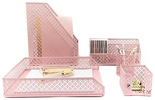 (Blu Monaco Office Supplies Pink Desk Accessories for Women-5 Piece Desk Organizer Set-Mail Sorter, Sticky Note Holder, Pen Cup, Magazine Holder, Letter Tray-Pink Room Decor for Women and Teen Girls)
