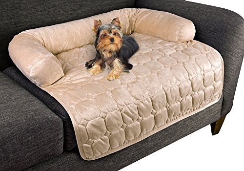 "Furniture Protector Pet Cover for Dogs and Cats with Shredded Memory Foam filled 3-Sided Bolster Soft Plush Fabric by PETMAKER Â- 30"" x 30.5"" Beige"