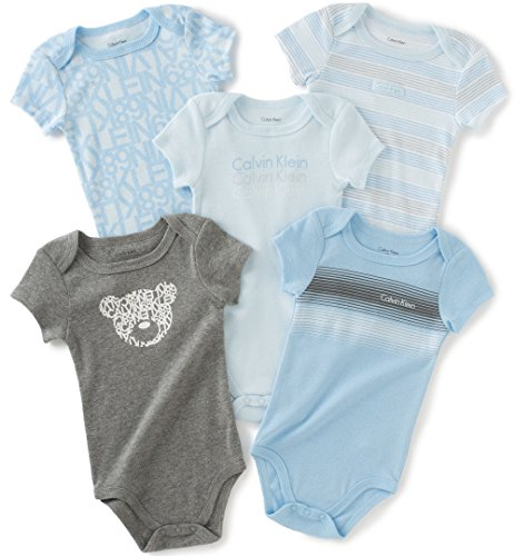 Calvin Klein Baby Boys' Assorted Short Sleeve Bodysuit, Blue/Gray, 0-3 Months (Pack of 5)