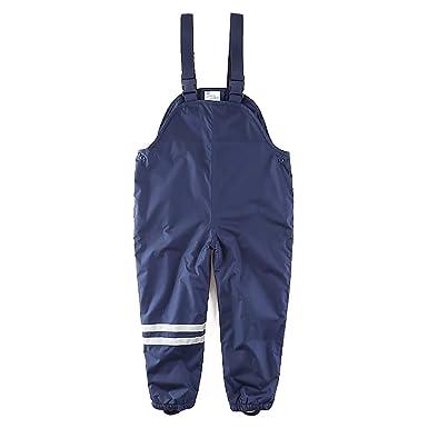 e36fff213 Amazon.com  umkaumka Kids Girls and Boys Rain Pants Fleece Lined Bib ...