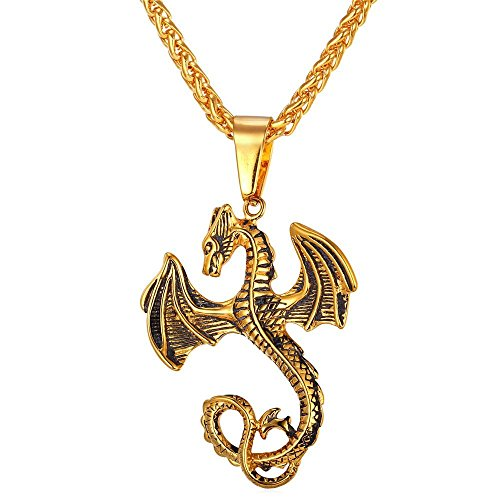Gothic Dragon Pendant On 18K Gold Plated Wheat Chain