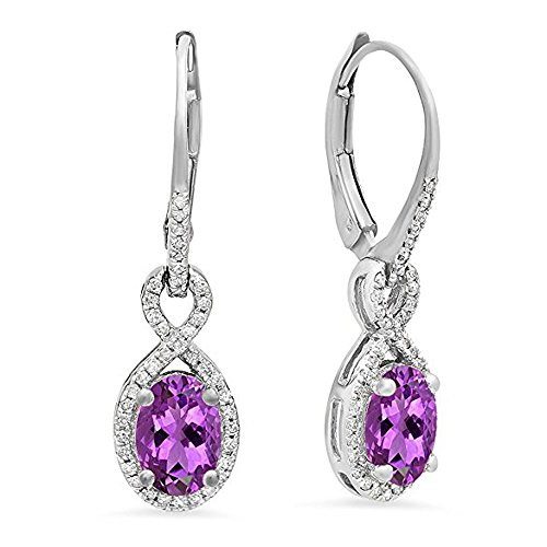 10K White Gold Oval Amethyst & Round White Diamond Ladies Infinity Dangling Earrings (Amethyst Oval Gold)