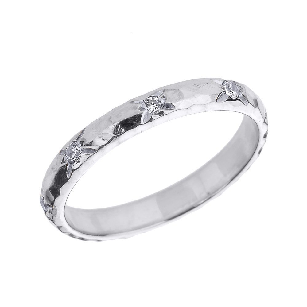 Solid 14k White Gold 3 mm Hammered Stackable Diamond Ring(Size 6.5)