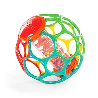 Get a Grip on Playtime.™ Encouraging interactive play, the Rollin' Rainstick™ features multi-colored beads that make playful raindrop sounds. 30 finger holes make this ball easy for baby to grasp and rattle.