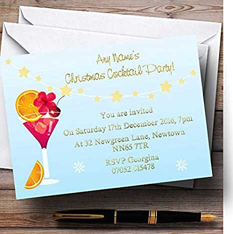 xmas cocktails personalized christmasnew yearholiday party invitations