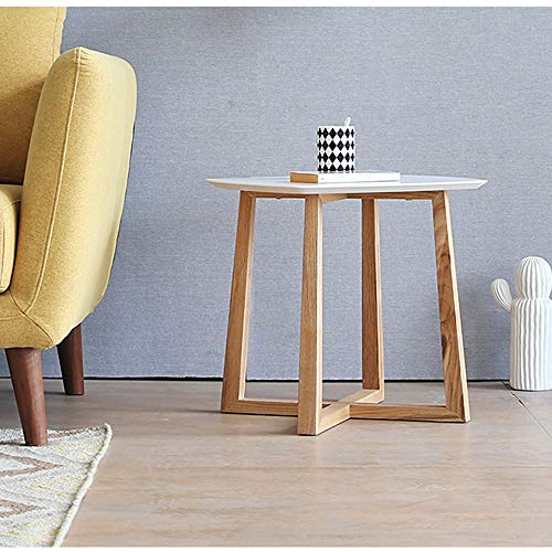 Xiaomei Modern Round Coffee Table Simple Tray Wild Chinese Small Sofa Side Table-4650CM (Color : White+White Oak)