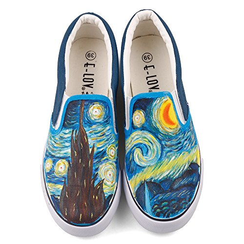 Sunflowers Reproduction - Abstract Oil Painting Starry Night Vincent Gogh Reproduction Artwork Painted Casual Walking Shoes Loafers (6.5 Women / 5 Men /CN38, White W204C)