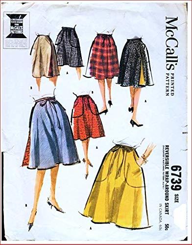 McCall's 6739 Reversible Wrap-Around Skirt Vintage Sewing Pattern, Check Listings for Size