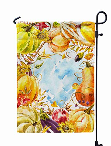 Shorping Welcome Garden Flag, 12x18Inch Autumn Leaves Pumpkins Border Frame Space White Background Seasonal Floral Maple Oak Tree Orange for Holiday and Seasonal Double-Sided Printing Yards Flags ()