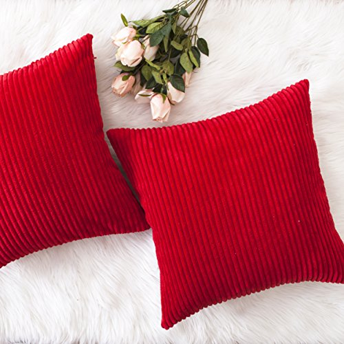 HOME BRILLIANT Christmas Decorative Throw Pillow Covers Striped Velvet Corduroy Plush Cushion Cover Set for Holiday, 2 Pack(Red, 18 x 18 inch, 45cm) (Red Holiday Pillow)