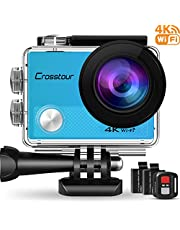 Crosstour WiFi cámara Deportiva acción 1080p Full HD 2.0 LCD pantella cámara Impermeable 2 baterías 1050mah 170 Grados Gran ángulo Sumergible 30m y 20 Accesorios Multiples.