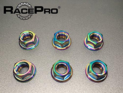 (RacePro - Suzuki GSX1300R Hayabusa 2005 x6 Titanium Rear Sprocket Nuts -Rainbow)