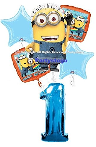 DESPICABLE ME MINIONS 1ST BIRTHDAY BALLOONS BIRTHDAY PARTY BALLOONS BOUQUET DECORATIONS SUPPLIES (INCLUDES 6 BALLOONS) ()