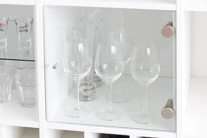 Vitrina con puerta de cristal para estantería de Ikea Kallax (Blanco) con base de vidrio
