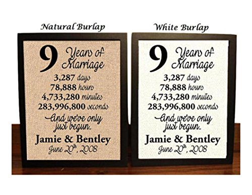 9 Year Anniversary Burlap Print | 9th Anniversary | 9th Anniversary Gift | 9 Years Together | 9th wedding Anniversary | 9th Anniversary gift for her | 9 Years of Marriage