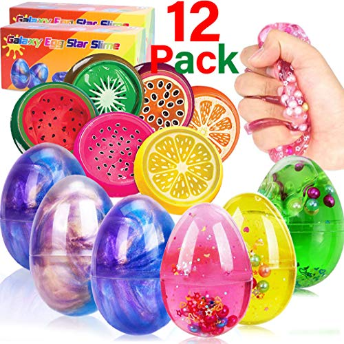 12 PCS GIANT Fluffy Slime Putty, Colorful DIY Slime-6 Unicorn Galaxy Crystal Slime+6 Fruit Slime Stress Relief Sludge Toys Stretchy Mud-Non Sticky, Kids Slime Party Favor Boys Girls Birthday Gift