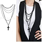 Women Girl Cross Black Long Chain Accessory Layers Necklace Pendant Gift