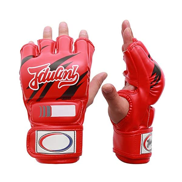 JIAGU-Kickboxing-Gloves-MMA-Grappling-PU-Leather-Half-Finger-Gloves-Kickboxing-Martial-Arts-Karate-Combat-Training-Color-Red-Size-One-size