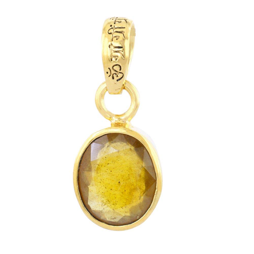 Skyjewels Certified /& Energized 8.25 Ct Yellow Sapphire Panchdhatu Pendant