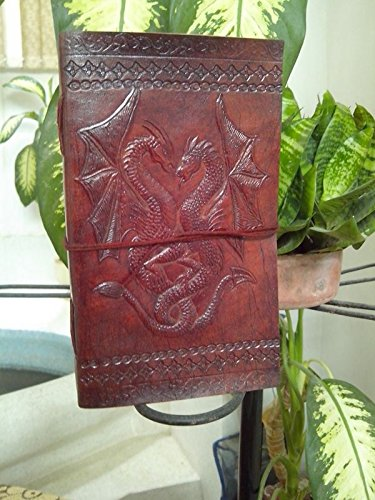 Distressed Dragon - QualityArt Handmade Distressed Leather Journal Dragon Diary Sketchbook Travel Blank Book 9x5 Inches Brown Christmas gifts