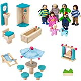 #7: Dragon Drew Wooden Dollhouse Furniture and Family Bundle: Including 1 Doll Family with Dog, 1 Patio Set and 1 Bathroom Set - Colorful Dollhouse Accessories Set - (20 PCS)