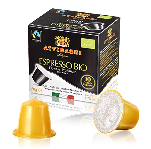 Attibassi Cápsulas de Café Orgánico, Arábica, Compatibles con el Sistema Nespresso, 50 Gr