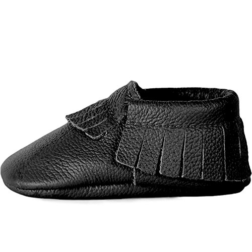 BirdRock Baby Moccasins - Premium Soft Sole Leather Boys and Girls Shoes For Infants, Babies, Toddlers (Medium | 12-18 Months | US 5.5, Black)
