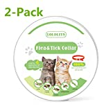Dog Flea Treatment Collar - LOLOLITS Waterproof Flea & Tick Collar For Cats, Kittens, Dogs & Pets By Company | Powerful & Safe Ingredients For most Ages & Breeds | 6-Month, Unique & Protective Formula For Your Cat&Dogs (2-Pack)