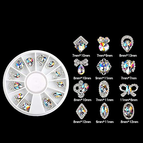 12PCS 3D Nail Art Rhinestones Flat Shaped Elongated Glass Colorful Stones Box (Style - 1#)