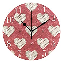 Dozili Twinkle Hearts Round Wall Clock Arabic Numerals Design Non Ticking Wall Clock Large for Bedrooms,Living Room,Bathroom