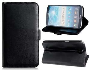 TR Imitación de cuero stand Funda protectora para Samsung i9200 (Negro)