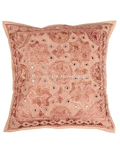 DK Homewares Traditional Sofa Throw Pillow Cover Brown Mirrored Work Embroidered Cotton Square Cushion Cover Single Piece 40 x 40 cm (16x16 Inch)